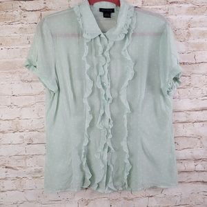 THE LIMITED SILK BUTTON TOP SZ LG
